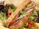 Salami special on corn baguette